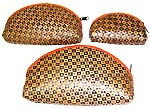 fashion accessory, cosmetic supply - Brown zipper purse set of 3 pieces