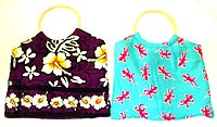 Assorted color and design beach bag, made of batik rayon /cotton fabric from Bali Indonesia, padded
