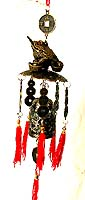 Metal made of FENGSHUI animal(frog) top of bell and coin, hang on a specific location to cather luck or pevent bad luck, especial used to get wealthy