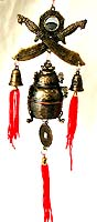 Metal made of FENGSHUI decoration with 2 swords top of bells, hang in a special location to prevent devil and bad luck