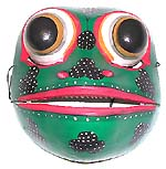 wholesale Bali Indonesian masks - Color painted frog style mask, mouth open