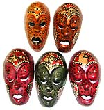 Assorted color and design Lombok mask with eyes and mouth half opened