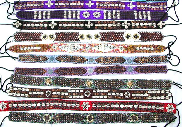 Wholesale fashion accessories sea shell and seed beads coconut beaded fashion belts