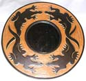 Orange tan crack rounded mirror with 4 black gecko