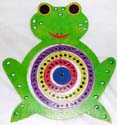 Green frog wooden mobile with circle rotating center