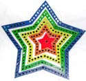 Assorted color star wooden mobile with rotating center