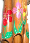 Flower painting deep brown bamboo windchime