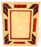 Bamboo strip around edge large rectangular wooden photo frame with brown pattern decor