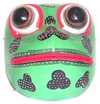 Black pattern decor green frog mask with open mouth