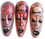 Pattern decor long Java mask with black eye lids and lips, assorted design randomly pick