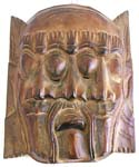 Brown flat carved facial figure design wooden mask plaque