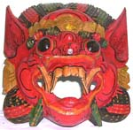 Color painting dragon head wooden mask with mout open showing teeth