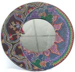 Batik sun moon star dotted round wooden mirror, assorted color and pattern design randomly pick