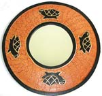 Rounded tan crack wooden mirror with 4 black turtle decor