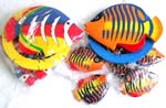 Color painting tropical fish wooden mobile, assorted color randomly pick