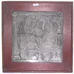 Square stone tribal carving plaque with wooden frame, assorted design randomly pick