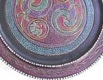 Batik pattern design rounded wooden plate, assorted design randomly pick