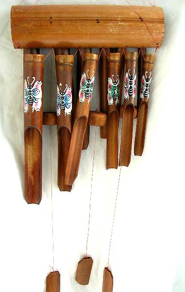 wholesale windchime, butterfly painting bamboo wind chime supplied by home decor gift jewelry wholesaler supplier