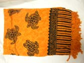 Island wear garments online, Orange indonesian sarong wrap with black turtle print theme catalog