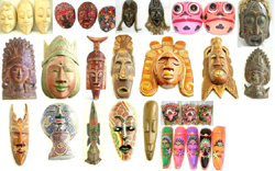 Assorted Handicraft Wooden Mask, Buddha Wooden Mask, Hand Painted Mask, Tribal Mask, Dotted Color Mask, Batik Mask, Dragon Mask, Human Facial Mask and Cane Wood Mask