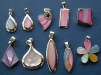 wholesale silver pendant in assorted design with genuine seashell stone inlaid and 925. sterling silver setting