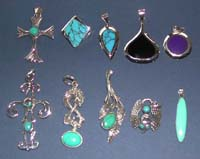 Turquoise jewelry supply 925. sterling silver pendant with genuine turquoise stone or onyx stone inlaid