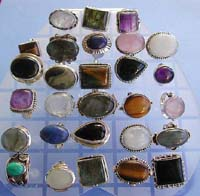 Lady's love jewelry sterling silver ring with assorted genuine stone inlaid
