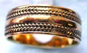 Wide band ring made of  bronze with carved-in double mini rope shape pattern decor around top and bottom