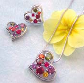 Wedding jewelry supplier wholesale chain necklace, assorted color cz heart love pendant and stud earring set