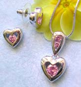 Beauty jewelry trend wholesale chain necklace, round pinkish cz heart love pendant and stud earring set