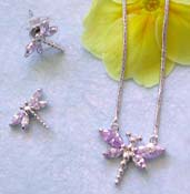 Trendy insect jewelry wholesaler offering chain necklace, light purple cz dragonfly pendant and stud earring set