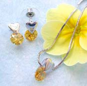Heart trend jewelry set wholesale chain necklace, yellow cz heart love top decor pendant and stud earring set